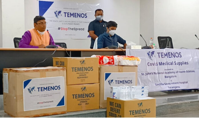 Temenos donates COVID medical supplies worth Rs 10 lakh to Sircilla Govt Hospital through the hands of Sircilla Dist Collector